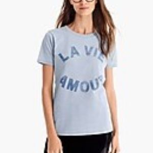 """J. Crew """"La Vie Amour"""" Tee T-Shirt Blue S Top"""